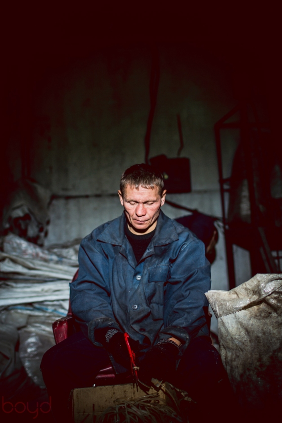 Recovering addicts work in a plastic recycling plant.